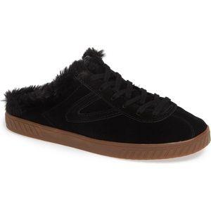 Tretorn Suede Faux Fur Slip on Mule Sneaker